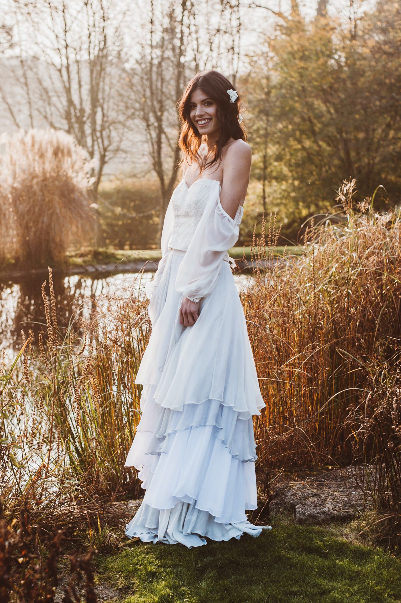 A blue layered dip dyed bridal skirt with a bohemian off