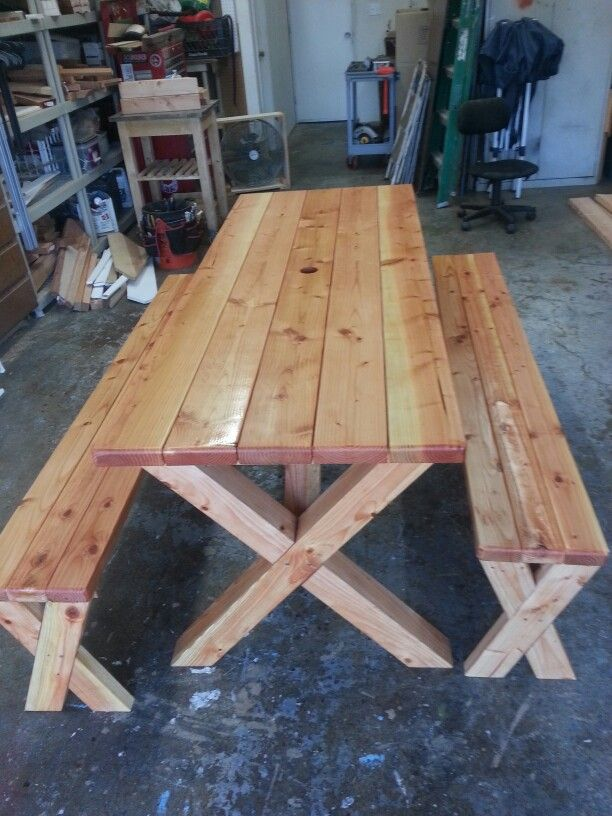 8ft Oversized Doug Fir Picnic Table With X Legs And Separate Benches With X  Legs.