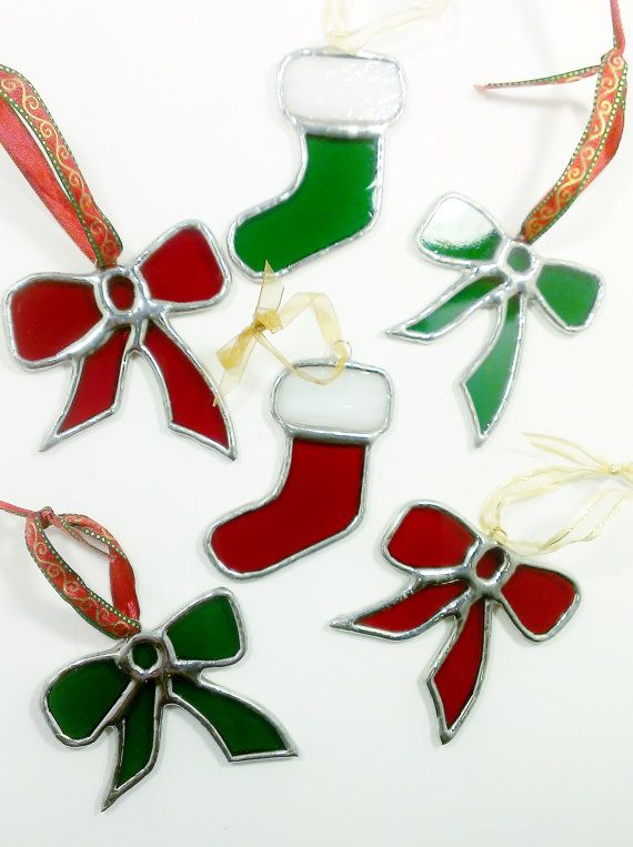 Stained Glass Christmas Ornament Red Christmas by JBsGlassHouse