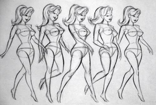 Female Walking Drawings Spaceship Illustration Cartoon Drawings