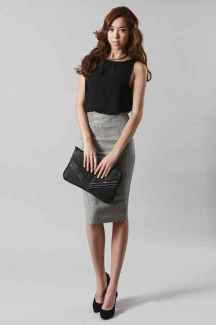White blouse, gray pencil skirt, black tights and black heels ...
