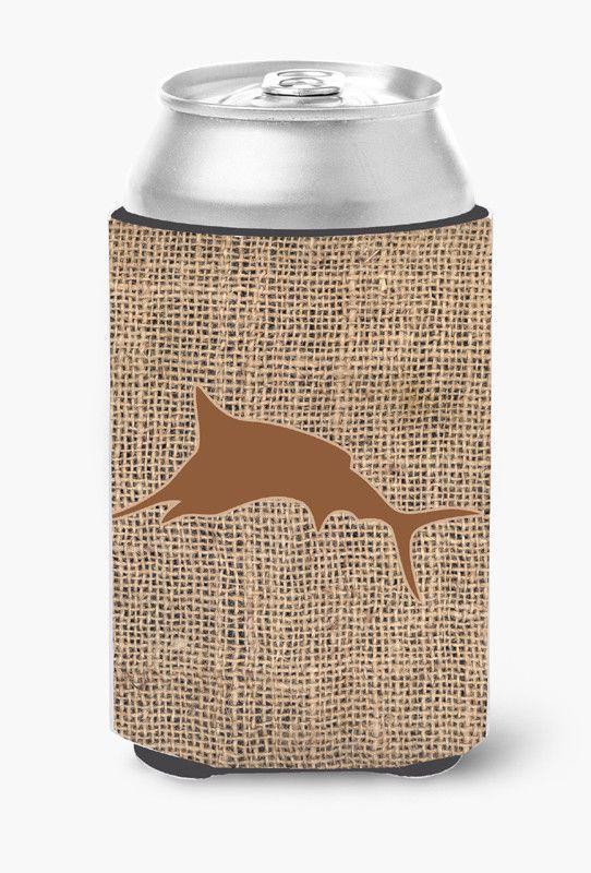 Fish - Marlin Burlap and Brown Can or Bottle Beverage Insulator Hugger