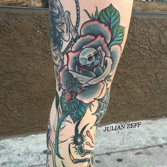 rose skull spider tattoo by julianzeff at unbreakable tattoo in