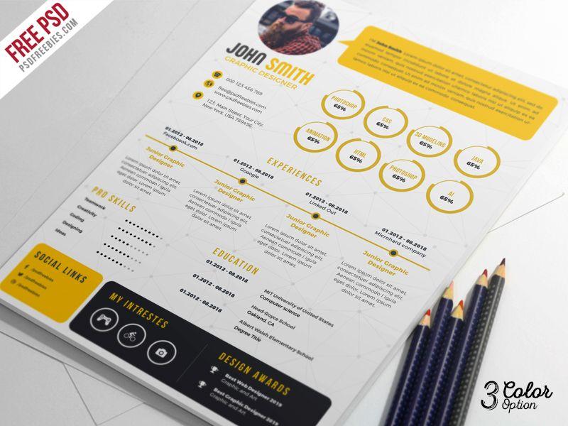 Creative Resume CV PSD Bundle Cv Graphique Offre Emploi Carte De Visite