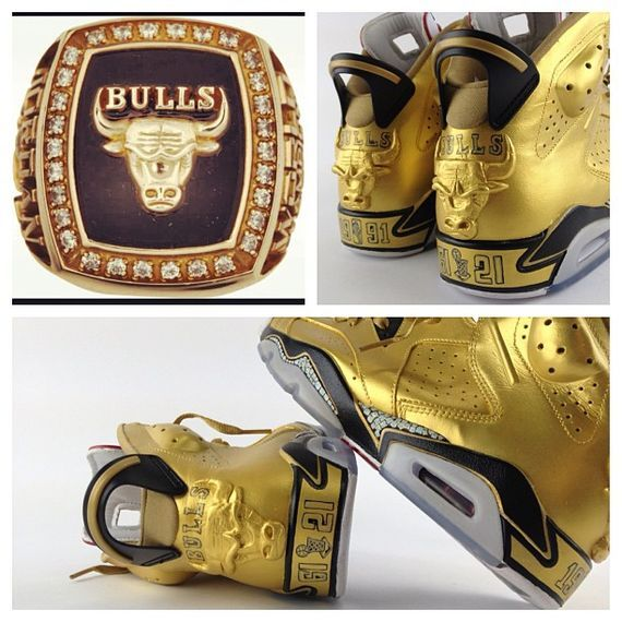 """Air Jordan 6 """"91 Champ"""" Custom Gold Sneakers"""