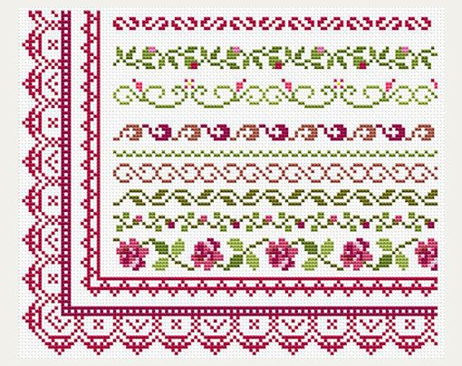 Cross Stitch patterns border - Counted cross stitch- Border Designs - Embroidery Borders- PDF- Instant download #embroidery