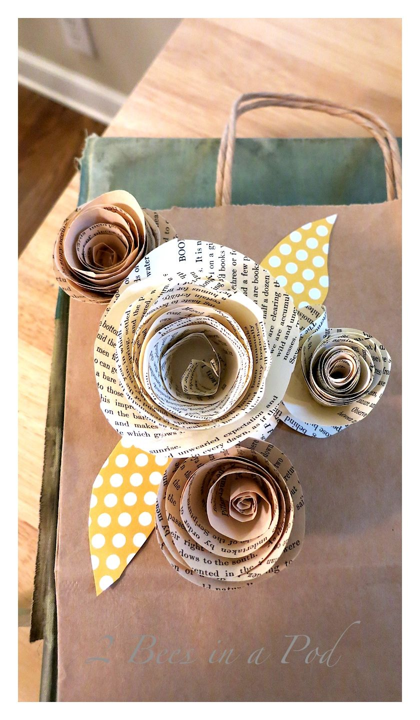 Diy paper roses from vintage book pages diy paper roses paper diy paper roses from vintage book pages 2 bees in a pod mightylinksfo