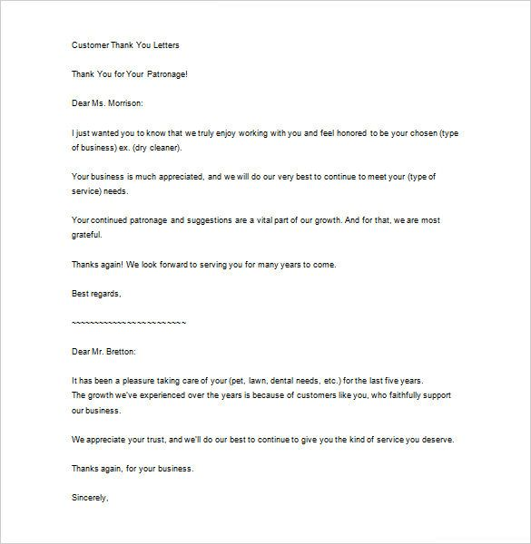 Sample Business Thank You Letter Free Example Format Letters For