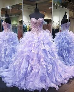 db187b725a6 Shiny Lilac Quinceanera Dresses 2018 Sweetheart Sparkly Rhinestones Puffy  Ruffles Ball Gown vestidos de quinceañera Sweet 15