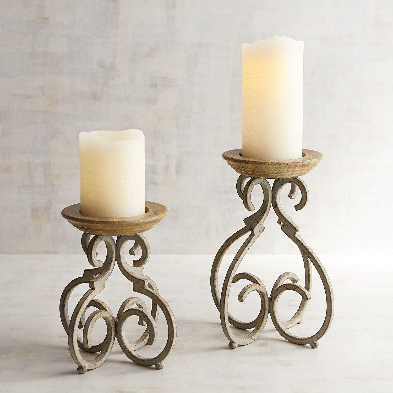 Rustic Metal Scroll Pillar Candle Holders