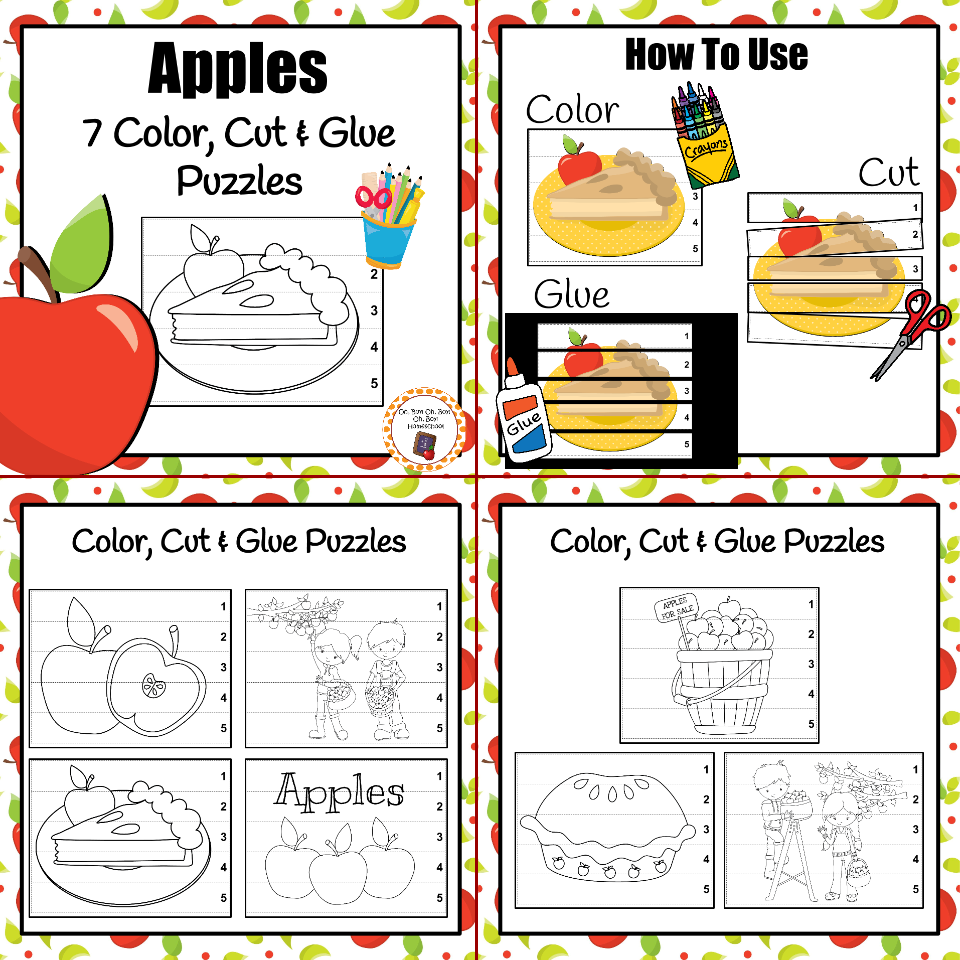 Add these cute color, cut and glue your math center during your apple unit!