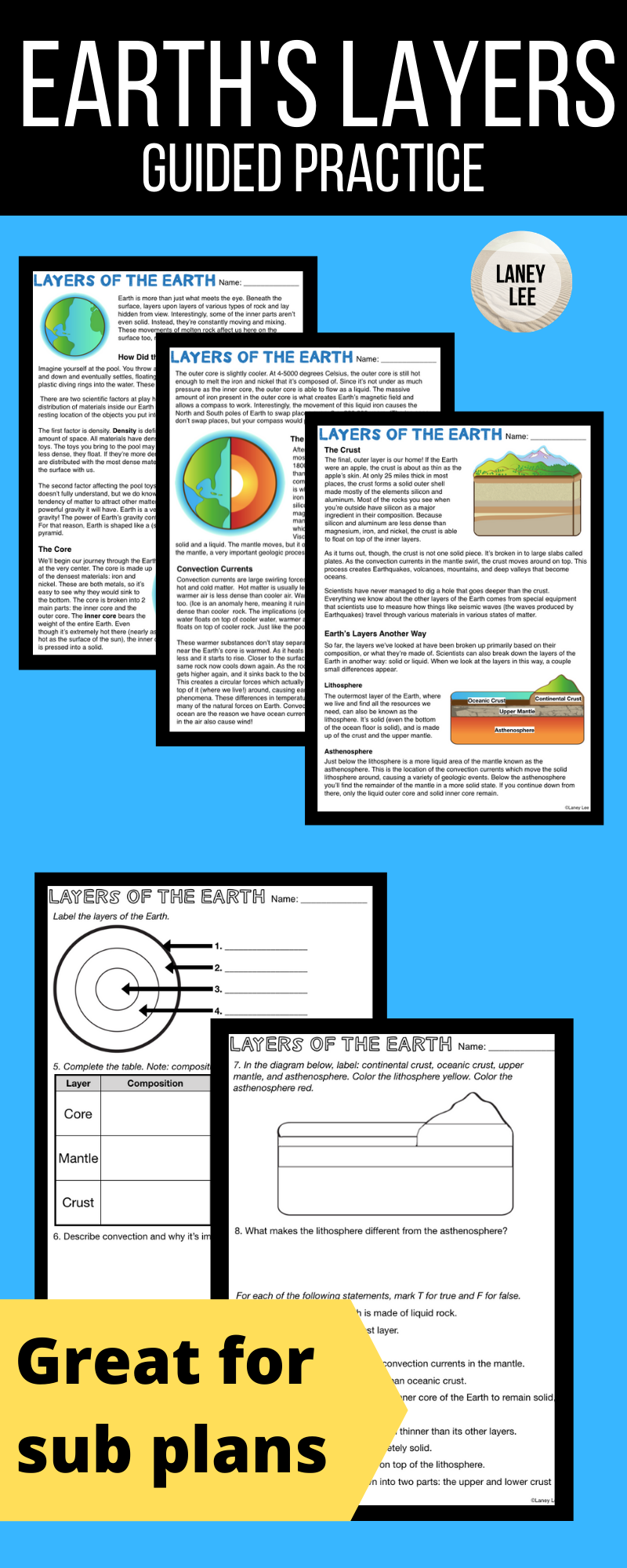 Layers Of The Earth Guided Reading Middle School Science Resources Guided Reading Worksheets Middle School Science Class [ 2000 x 800 Pixel ]