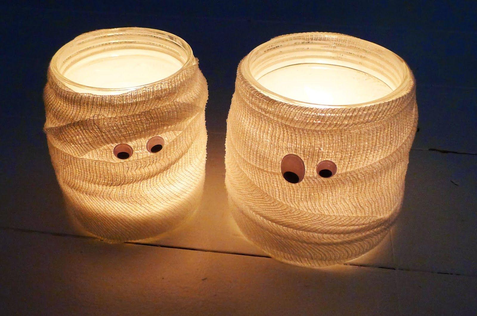 Mumien windlichter halloween halloween pinterest - Halloween deko basteln mit kindern ...