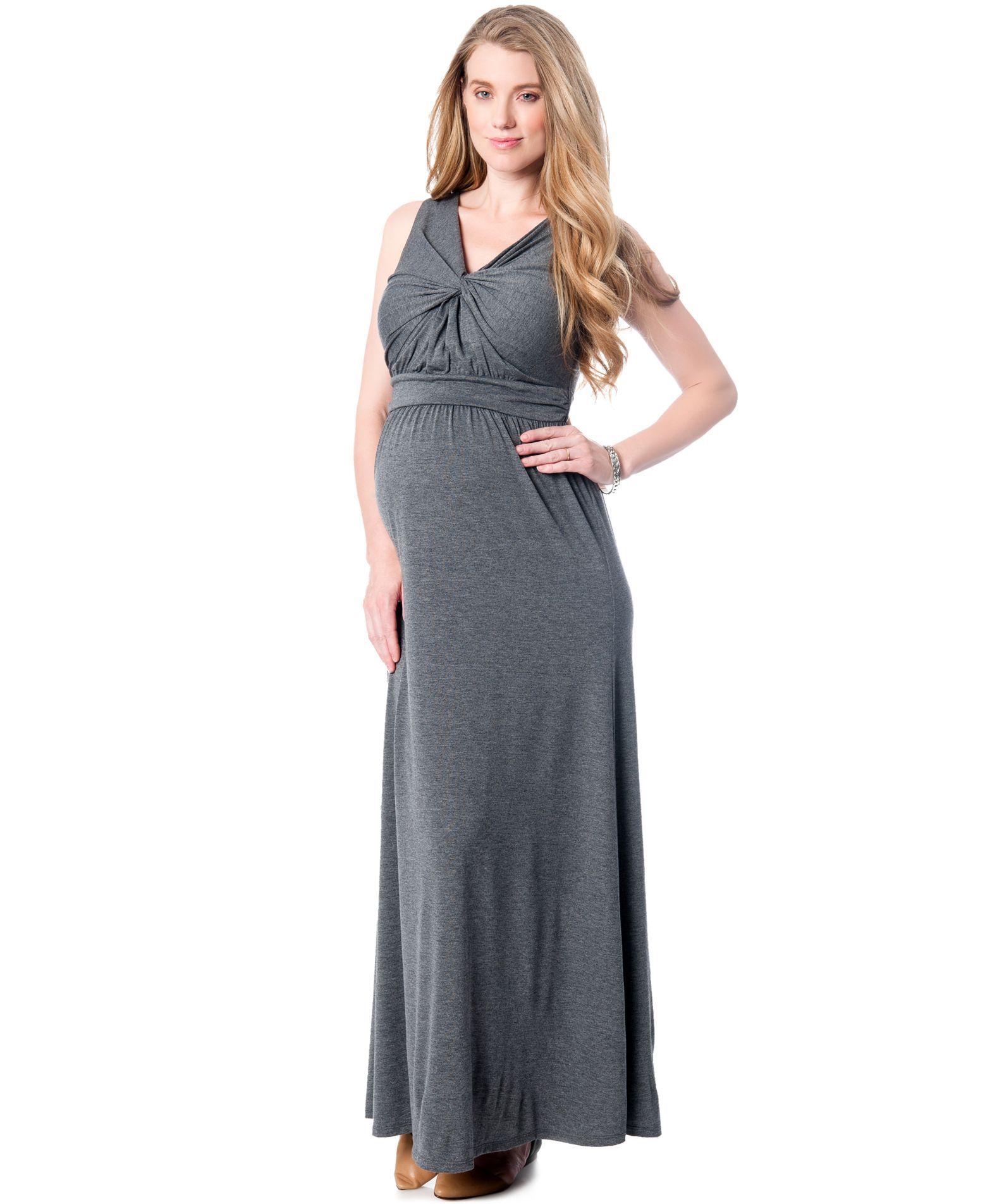 1bbe9d42b69d4 Motherhood Maternity Sleeveless Knotted-Front Maxi Dress | Bra ...