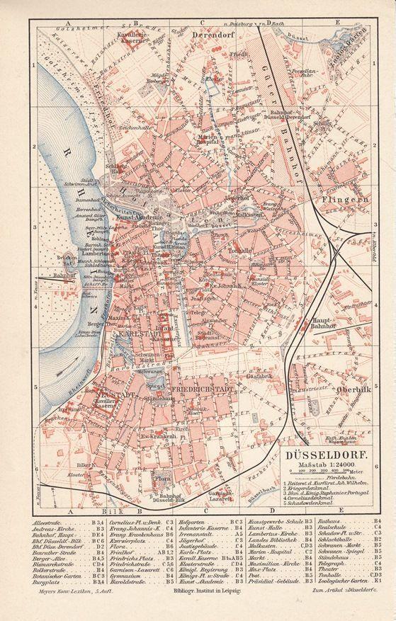 Düsseldorf Karte.Details Zu 1894 Düsseldorf Alte Landkarte Stadtplan Karte Antique