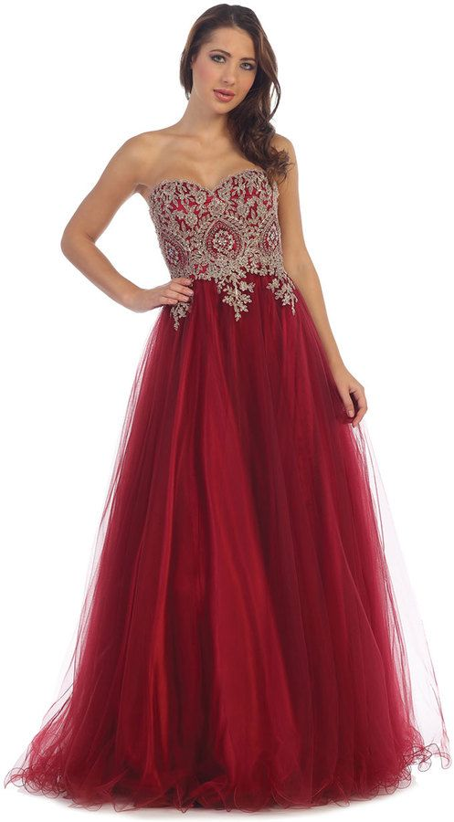 Burgundy Red Gold Sexy Strapless Long Ball Gown Prom Tulle