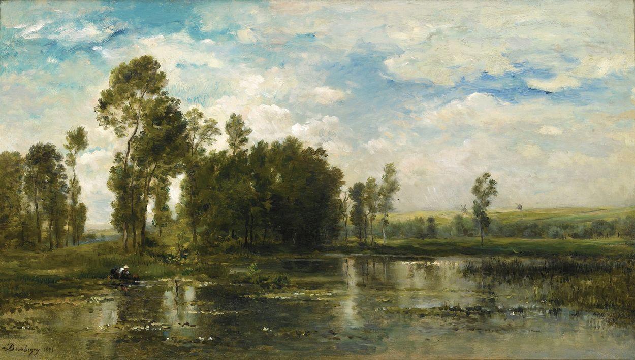 Charles Francois Daubigny - A Summer Day, 1871, oil on cradled panel