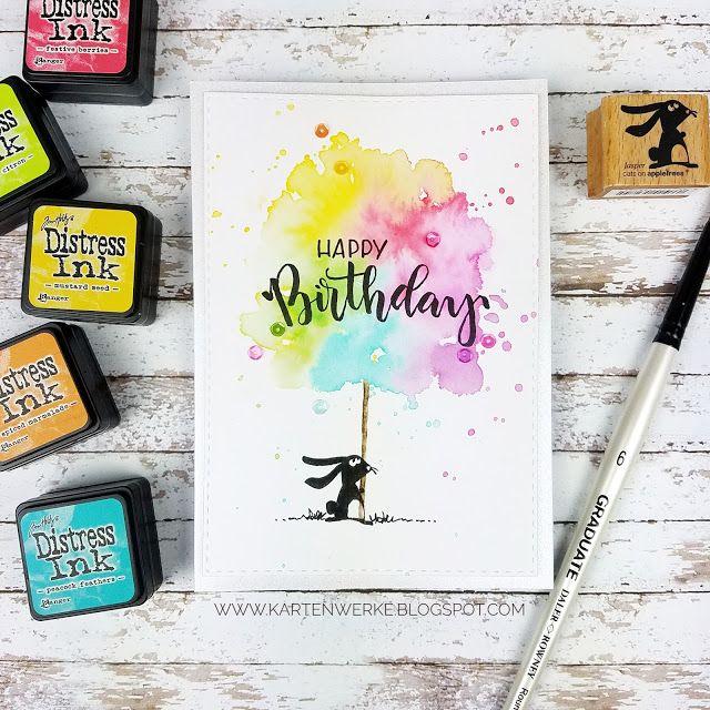 Kartenwerke: Geburtstagskarte mit Jasper von Cats on Appletrees,  Distress Inks, Aquarell, Zuckerwatte, Handlettering, Brushlettering #giftsforcats