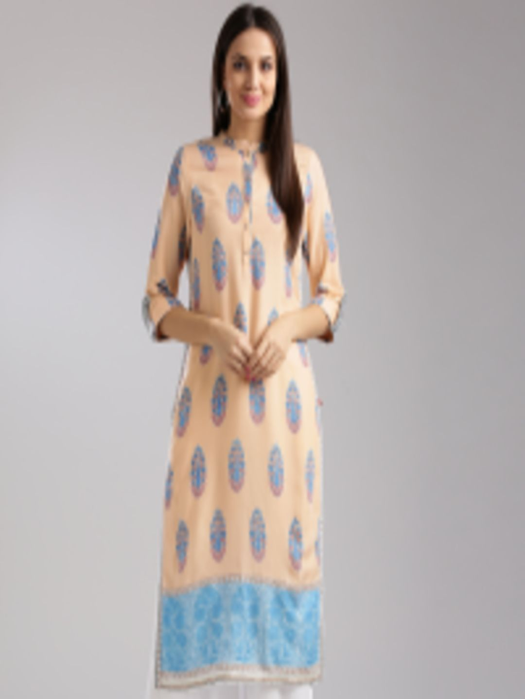 15159299c1b Buy W Women Peach Coloured   Blue Printed Straight Kurta - Kurtas for Women  2402988