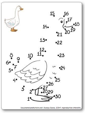 Points relier de 1 30 l 39 oie p ques pinterest - Dessiner une oie ...