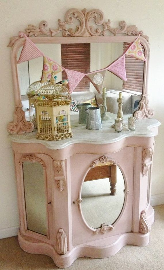 The Perfect Light Pink Victorian Chiffonier Sideboard