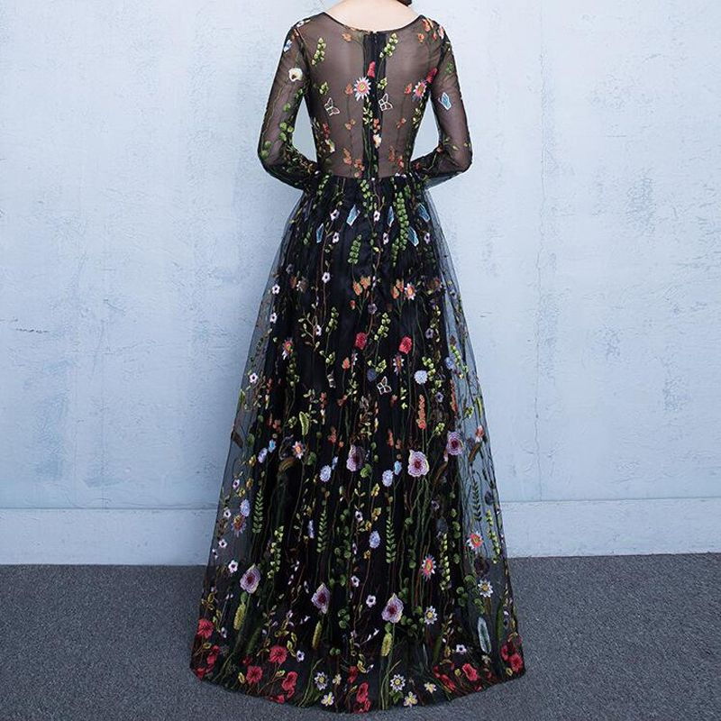 SORCHIDF unway Dresses Black Half Sleeves Sheer Mesh Embroidery Long Dresses Bohemian Brand Style Vestidos De Festa