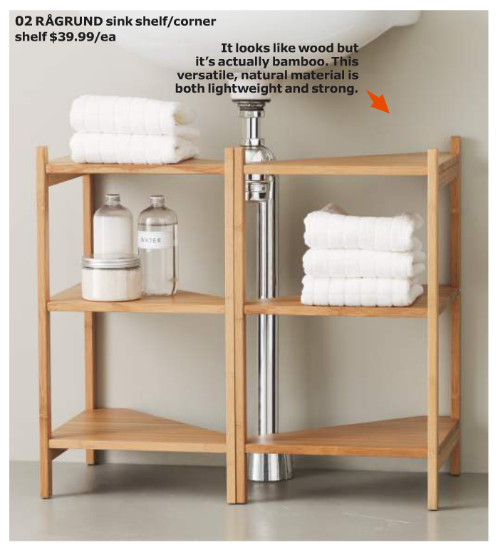 10 Amazing Ideas To Utilize The Space Under The Sink For Storage: Ikea Ragrund Sink Shelf. Cool Use Of Corner Shelf