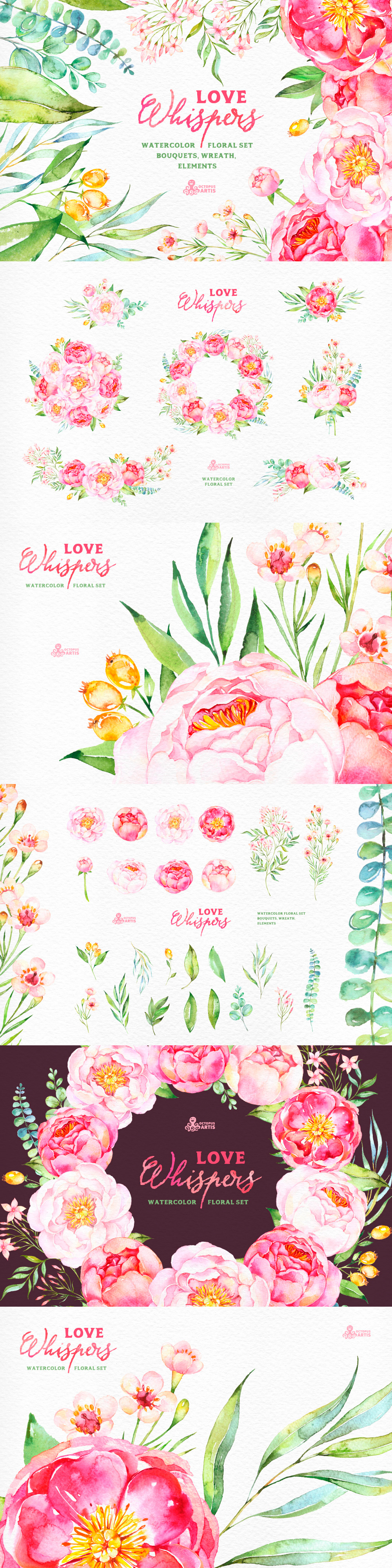 watercolor floral flowers clip art set pink green Hand-painted bouquets Clip Art Feminine / Girly Graphics / PNG / Stock Images for Wedding Invitations or Party Invites