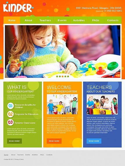Kinder children moto cms html templates by mercury for Brochure website templates