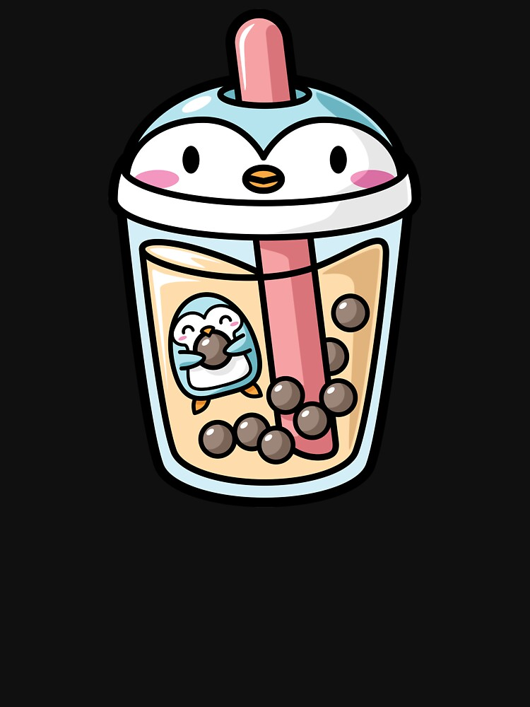 'Bubble Tea with Cute Kawaii Penguin Inside' Essential T-Shirt by BobaTeaMe