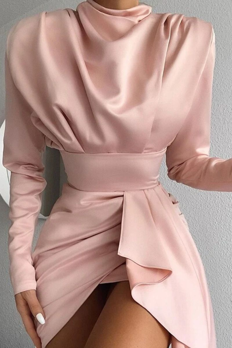 Mock Neck Long Sleeve Satin Dress Spring Summer 2020 Irregular Open Back Mini Party Formal Dresses – Summer outfits