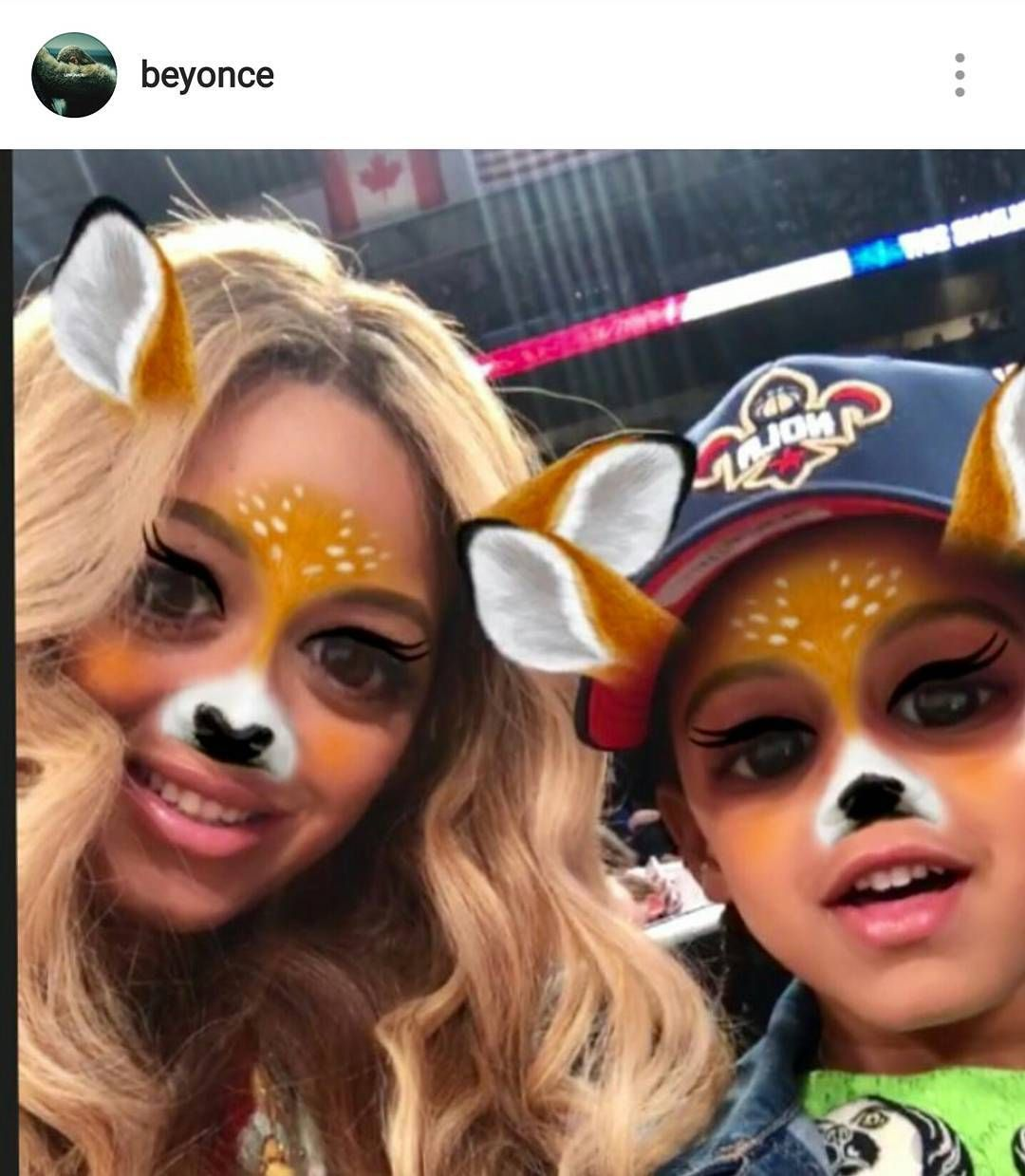 #Beyonce just posted this picture of her and #BlueIvy using a snapchat filter!  The gag is she supposedly don't have a snapchat account!
