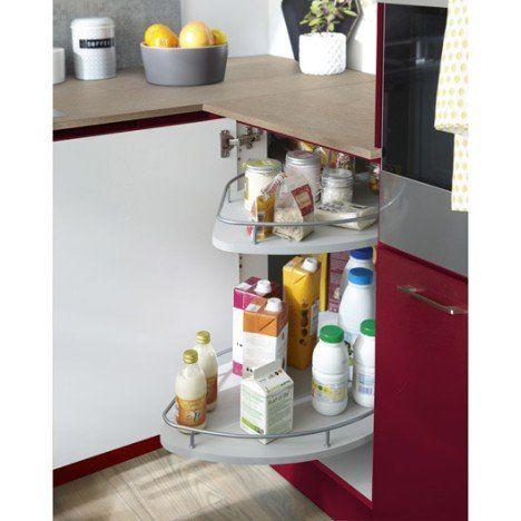 Rangement coulissant 2 paniers tirant droit pour meuble d\u0027angle bas - amenagement placard d angle cuisine