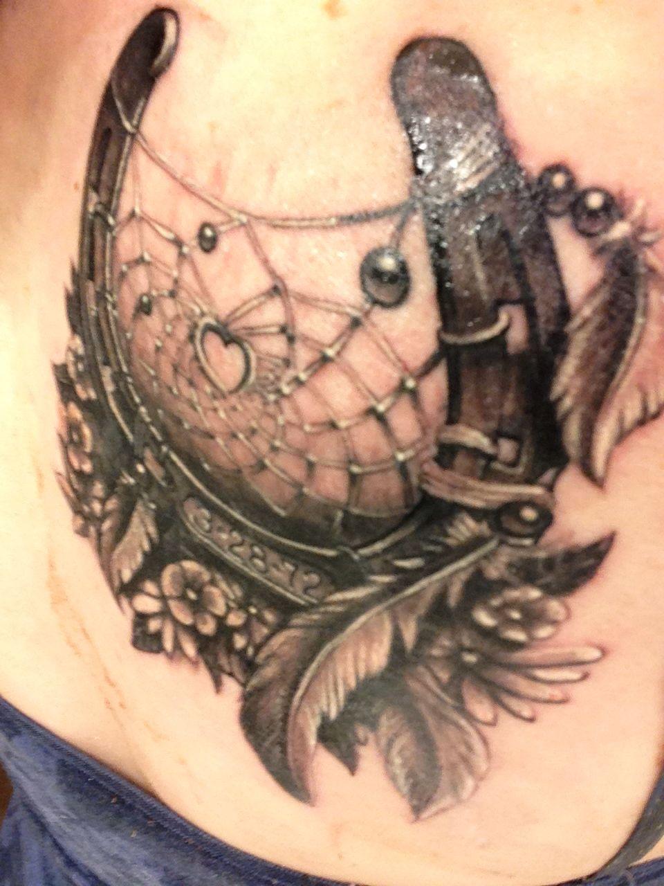Horse Dreamcatcher Tattoo : horse, dreamcatcher, tattoo, Horse, Dream, Catcher, Dedicated, Birthday, Stamped, Horseshoe., Tattoo,, Tattoos,, Tattoos
