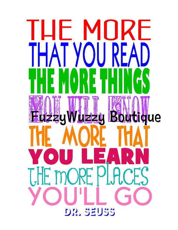 Instant Digital Download Dr Seuss Reading Quote Printable