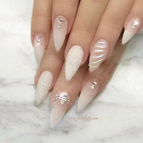 stiletto nail art ideas  inspiration  white  shell