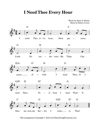 I Need Thee Every Hour Free Hymn Lead Sheet With Melody Chords And