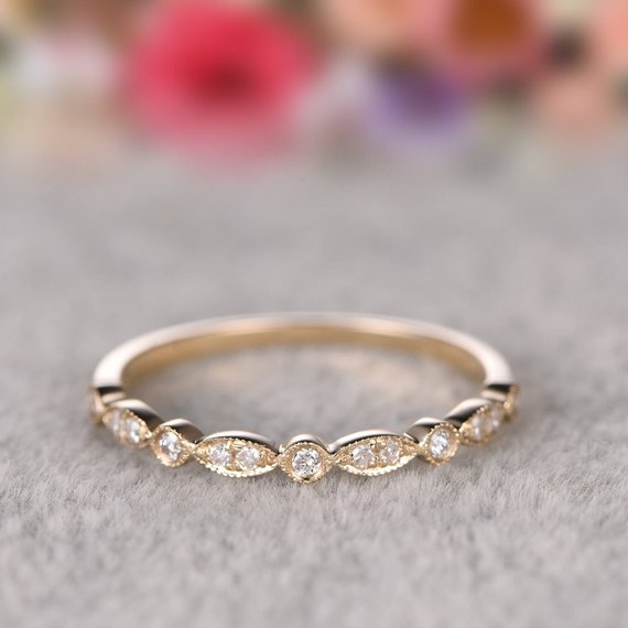 Pin By Chris Couture On Our Backyard Wedding Yellow Gold Rings Half Eternity Wedding Band Yellow Gold Wedding Band