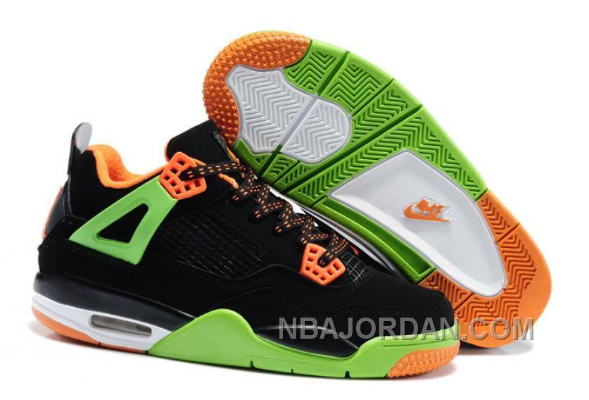 newest d64d4 f3063 Shop Half off Air Jordan 4 Kids Triple Black Grinch Green Team Orange Cheap  New Jordans Shoes