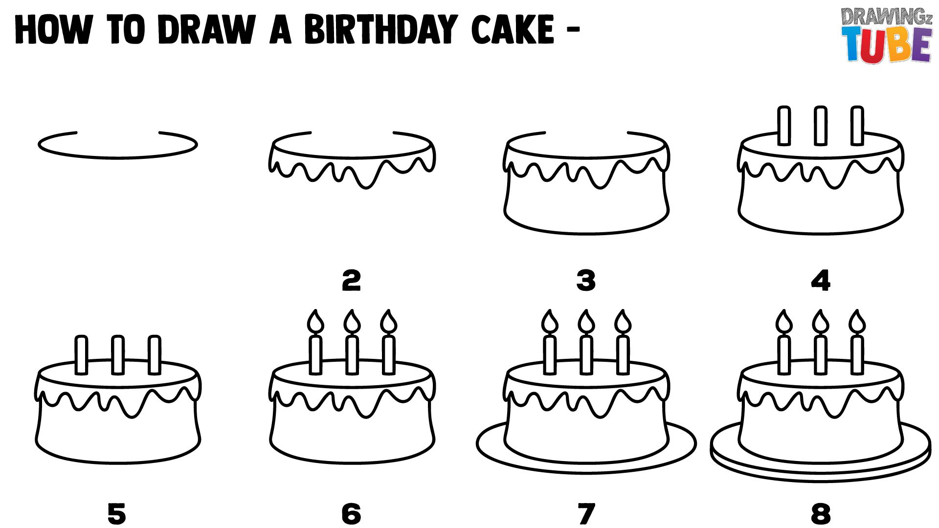 Step By Step Drawings For Kids Happy Birthday Doodles Birthday Doodle Cake Drawing