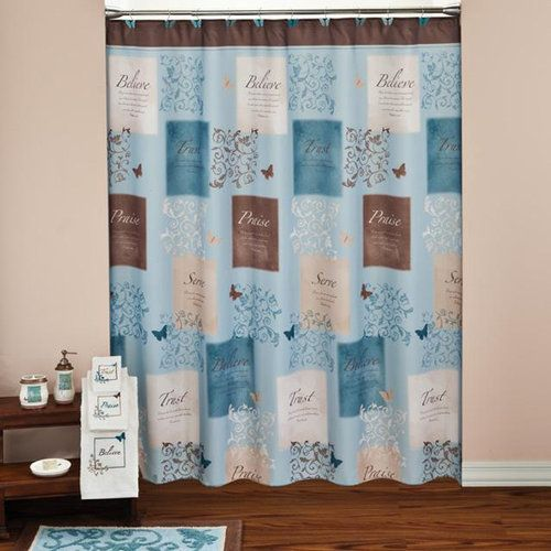 Butterfly Blessings Shower Curtain And Hook Set  Guest Bathroom