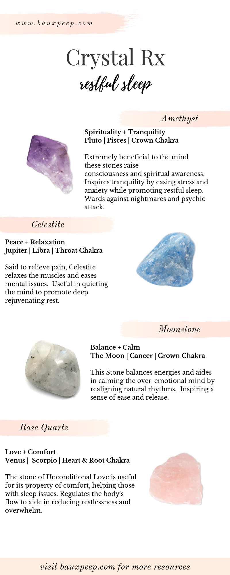 What's your Crystal Rx? Looking for the best crystals to use for sleep issues? Here a four of the BEST crystals for promoting restful sleep. Check out the blog for more FREE crystal healing resources ! #crystals #crystalmeanings #crystalrx #crystalsforsleep #crystalhealing #howtousehealingcrystals #crystalhealing