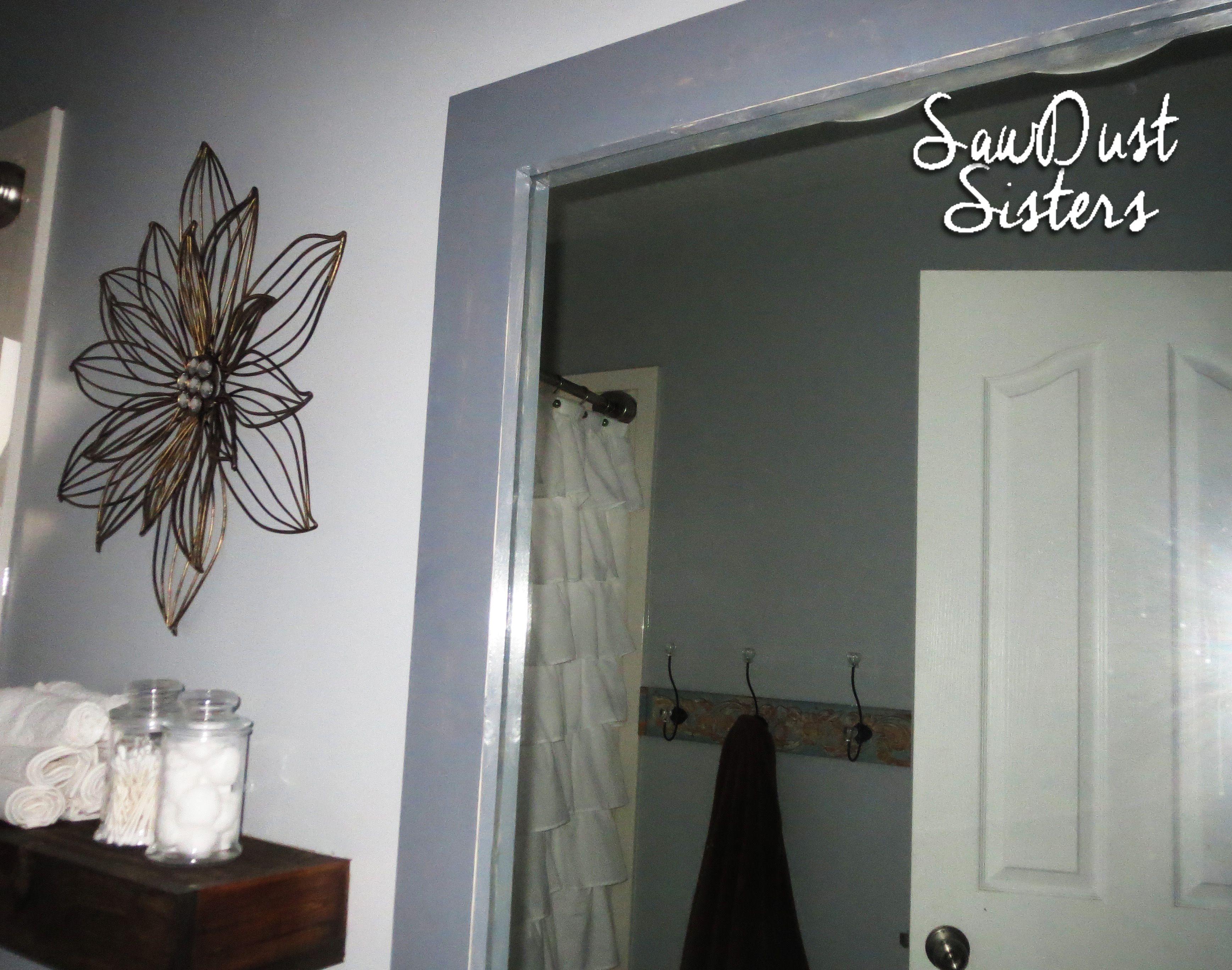 Diy stick on mirror frame master bath improvement - How do you frame a bathroom mirror ...
