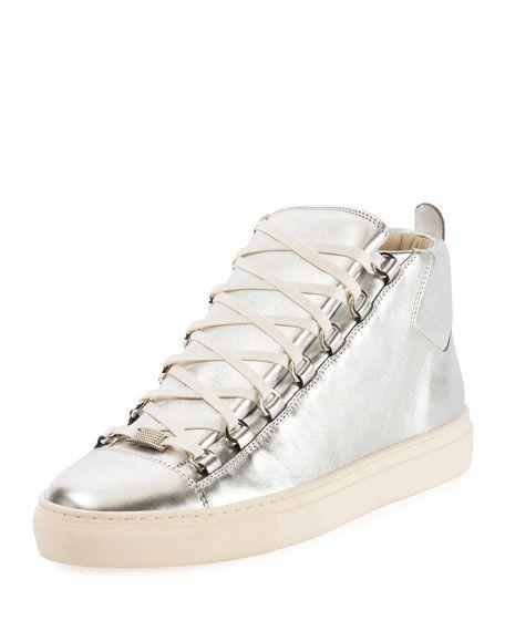 a5489c22fd BALENCIAGA Men'S Arena Metallic Leather High-Top Sneaker, Silver. # balenciaga #shoes #