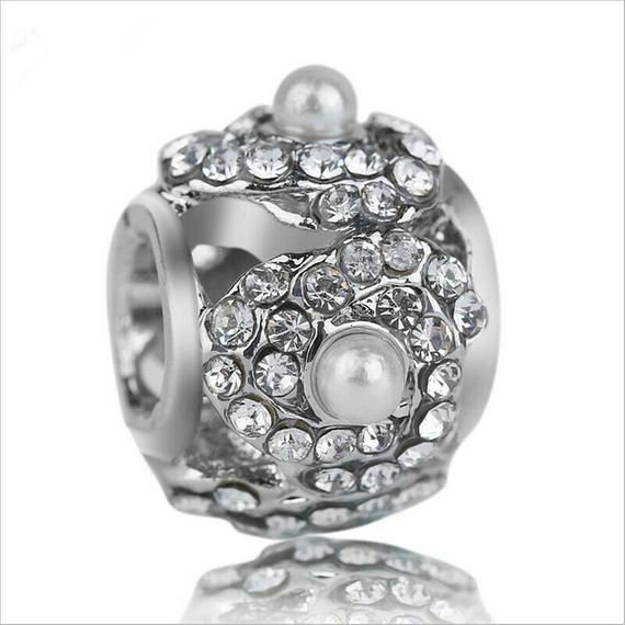1 pc. European CZ Crystal Jewel Charm Bead, 12mm, Large Hole Bead, Fits Pandora Charm Bracelet / Nec -  1 pc. European CZ Crystal Jewel Charm Bead, 12mm, Large Hole Bead, Fits 925 Silver or Pandora Charm - #12mm #Bead #Bracelet #Charm #Crystal #cuteoutfits #cuteweddingdress #European #fashionjewelry #fashiontrends #Fits #Hole #Jewel #Large #nec #pandora #pandoracharms #pandorarings #trendyoutfits #weddingbride