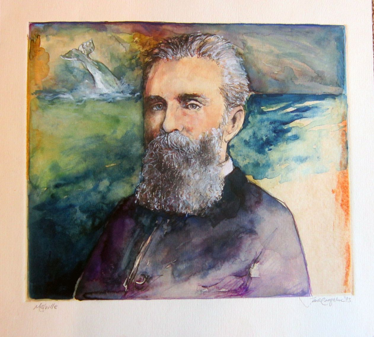 Watercolor artists names - Nice Watercolor Of Melville The Artists Name Looks Like Jack Laughlin Yellowing Of Paper