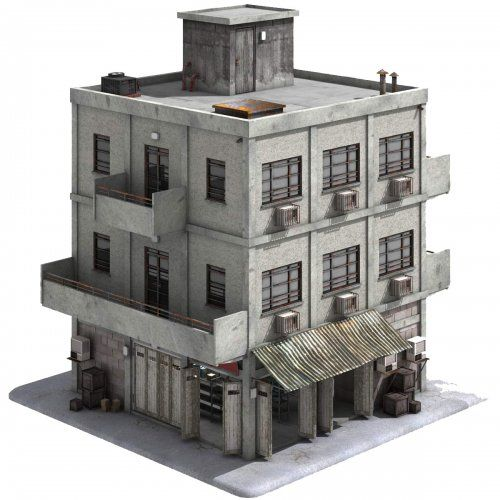 Game Ready City Store Building  This royalty free 3D model