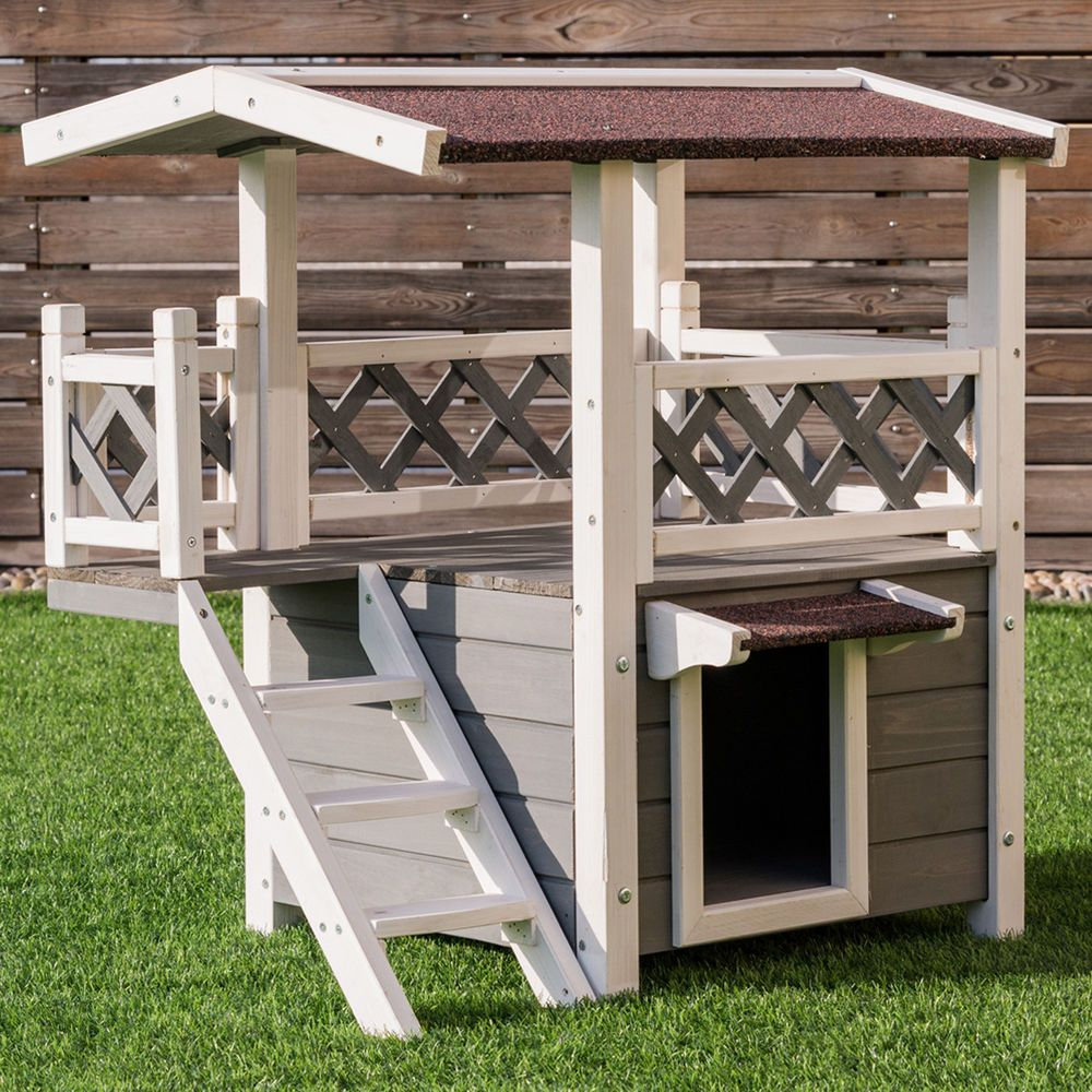 2 Story Outdoor Weatherproof Wooden Cat House Condo Shelter With Escaping Door Goplus Wooden Cat House Dog House Diy Outdoor Cat House