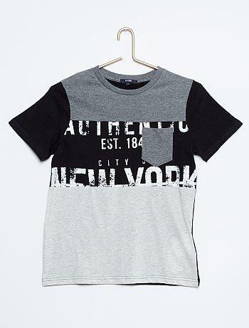 876d98e1e Camiseta de punto color block con bolsillo en el pecho gris Joven niño