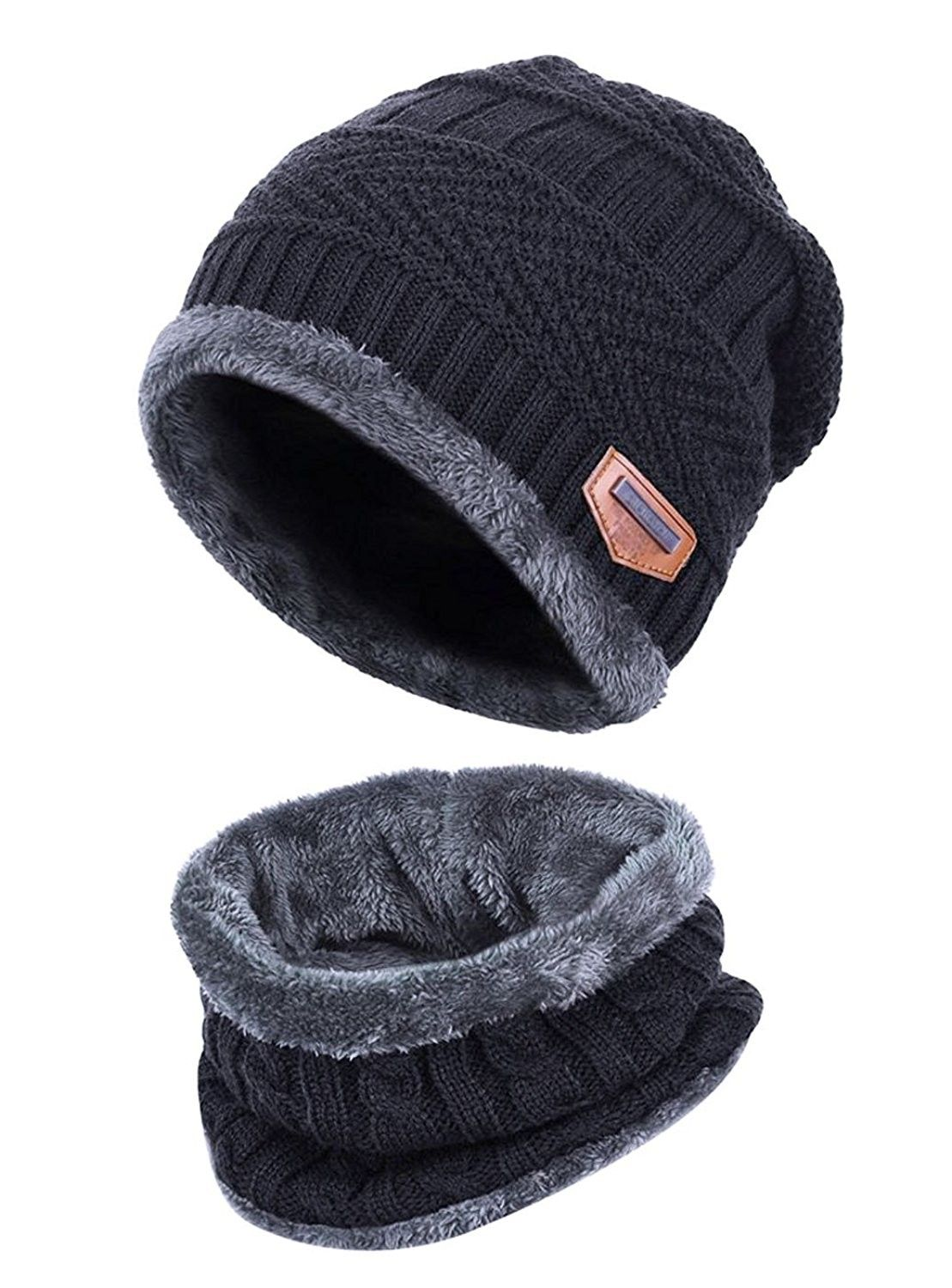 37d32e687 Slouchy Beanie Winter Hats For Men Windproof Scarf Warm Snow Knit ...